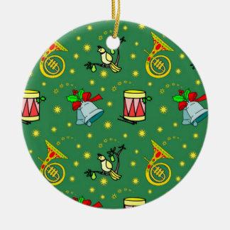 Christmas – French Horns & Magenta Drums 2 Ceramic Ornament
