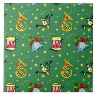 Christmas – French Horns & Magenta Drums Ceramic Tile