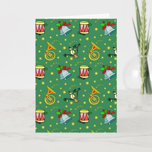 Christmas – French Horns & Magenta Drums Holiday Card