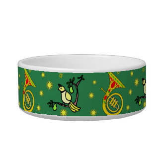 Christmas – French Horns & Magenta Drums Cat Water Bowls