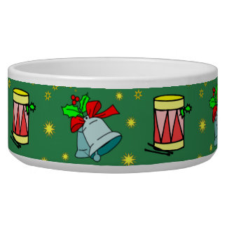 Christmas – French Horns & Magenta Drums Dog Water Bowl