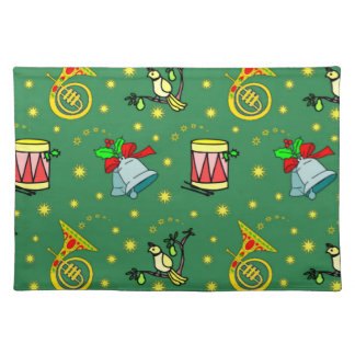 Christmas - French Horns & Magenta Drums Cloth Placemat