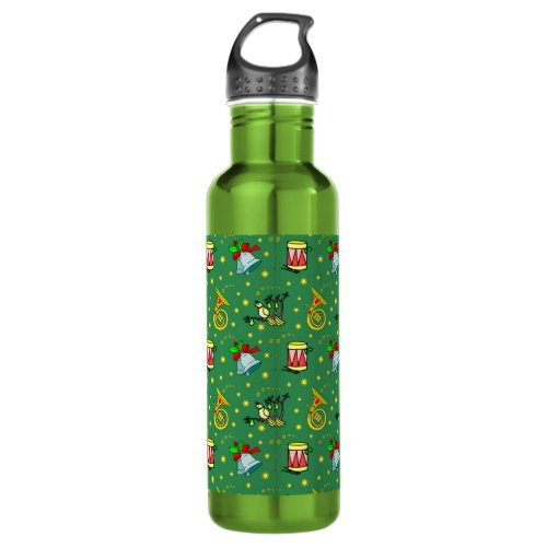 Christmas – French Horns & Magenta Drums Water Bottle