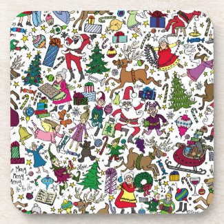 """Christmas Frenzy"" — Cork Back Coasters"