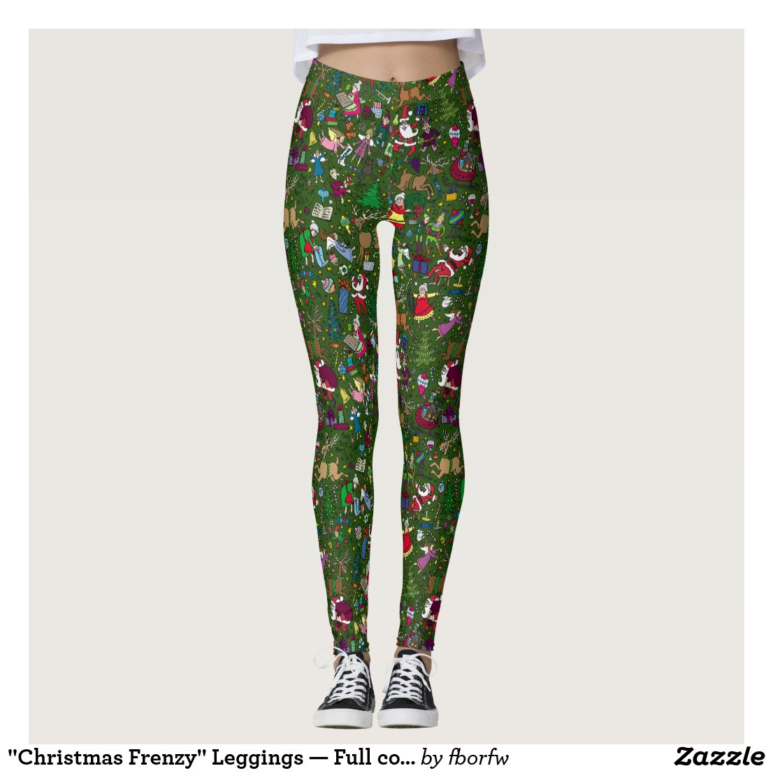 """Christmas Frenzy"" Leggings — Full colour on green"