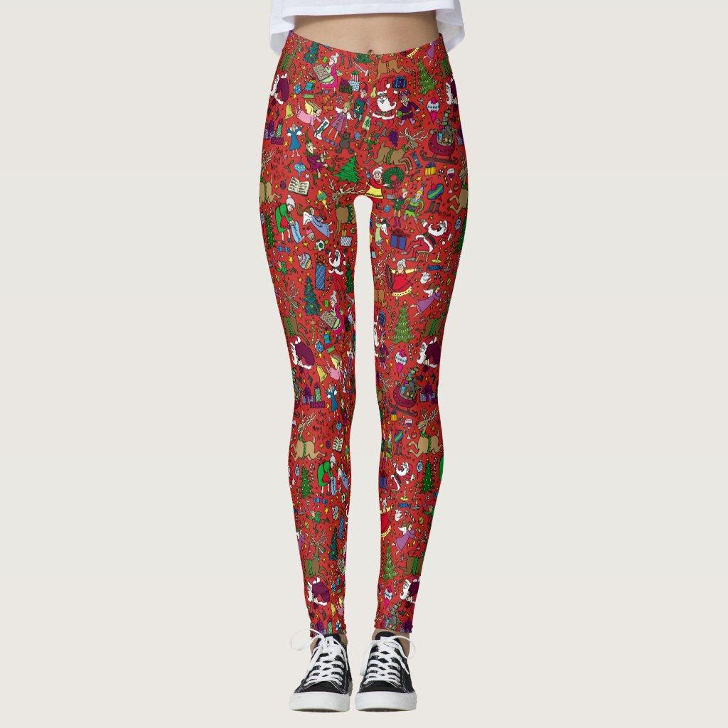 """""""Christmas Frenzy"""" Leggings — Full colour on red"""