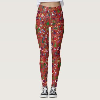 """Christmas Frenzy"" Leggings — Full colour on red"