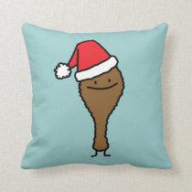 Christmas Fried Chicken leg Santa hat drumstick Throw Pillow