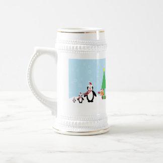 Christmas Friends: Penguins & Reindeer in the Snow Beer Stein