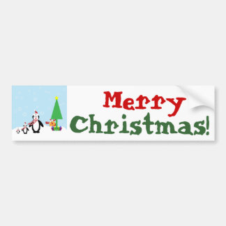 Christmas Friends: Penguins & Reindeer in the Snow Bumper Stickers