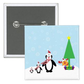 Christmas Friends: Penguins & Reindeer in the Snow Pins