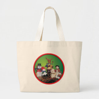 Christmas friends with snowmen tote bags