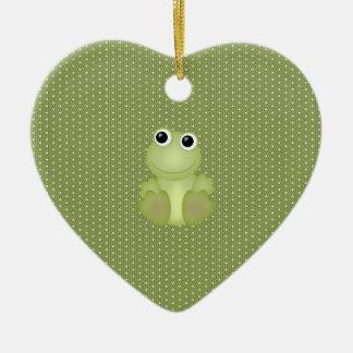 Christmas frog ceramic ornament