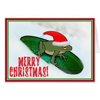 Christmas Frog Dashing Thru the Snow on a Lily Pad Card