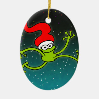 Christmas Frog Jumping out of Joy! Ceramic Ornament