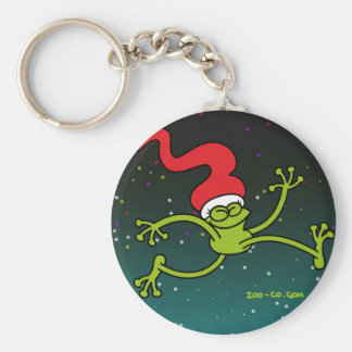 Christmas Frog Jumping out of Joy Keychain