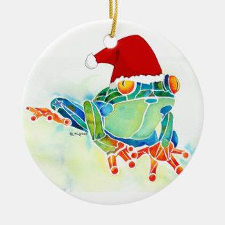 Christmas Frog with Santa Hat Ceramic Ornament