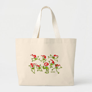 Christmas Frogs jumping, dancing and celebrating! Tote Bags