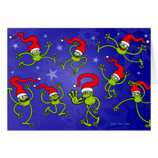 Christmas Frogs jumping, dancing and celebrating! Card