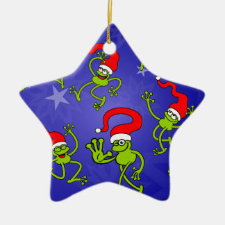 Christmas Frogs jumping, dancing and celebrating! Ceramic Ornament