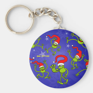 Christmas Frogs jumping, dancing and celebrating! Keychain