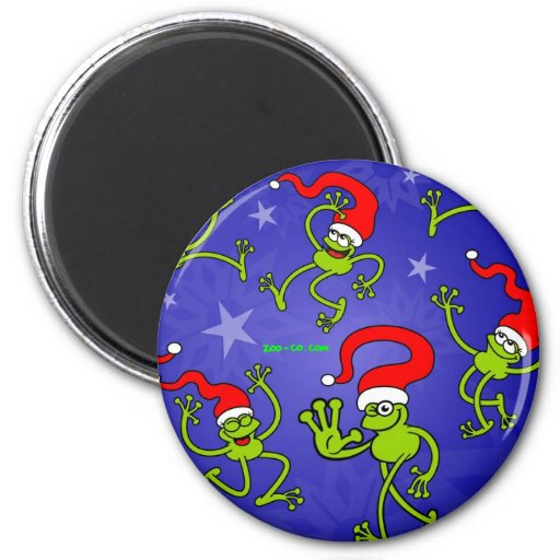 Christmas Frogs jumping, dancing and celebrating! Refrigerator Magnet