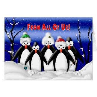 Christmas - From All of Us - Penquins - Business Card