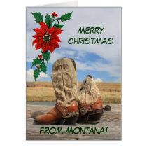 Christmas From Montana Western Boot Card