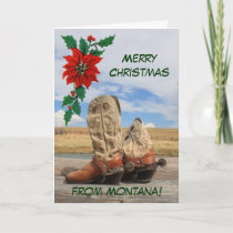 Christmas From Montana Western Boot Holiday Card