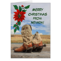 Christmas From Nevada Western Boot Card