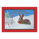 Christmas, From Our Home, Rabbit, Snow, Candy Cane Greeting Cards