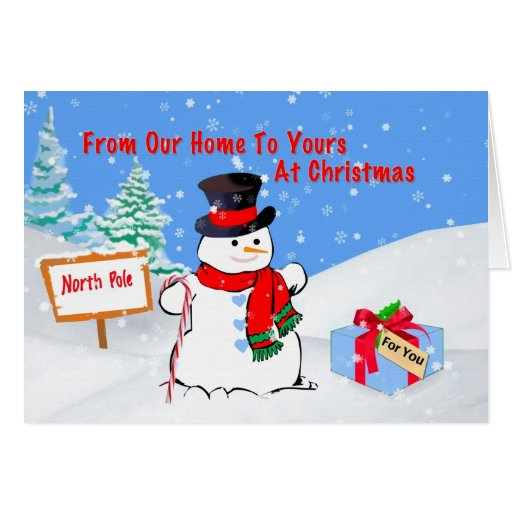 Christmas, From Our Home, Snowman, Gift, Snow Greeting Card