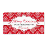 "Christmas From The Kitchen Of labels Personalized<br><div class=""desc"">Christmas ""From The Kitchen Of"" labels with red and white,  decorative,  damask design. Personalized template.</div>"