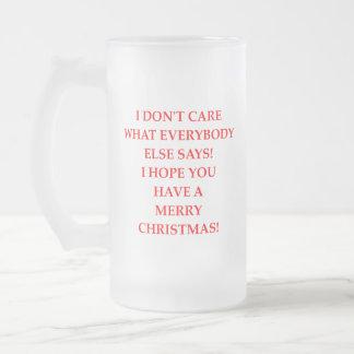christmas frosted glass beer mug