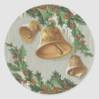 Christmas Frozen Bells and Holly Round Stickers