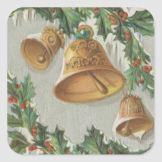 Christmas Frozen Bells and Holly Square Stickers