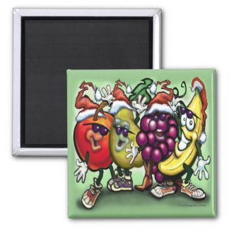 Christmas Fruit 2 Inch Square Magnet