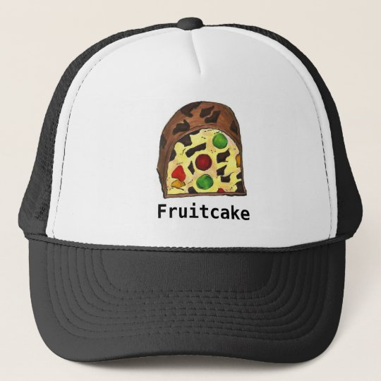 f6e2c003a4b Christmas Fruit Cake Fruitcake Slice Food Holiday Trucker Hat ...