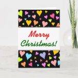 [ Thumbnail: Christmas; Fun, Loving, Colorful Hearts Pattern Card ]