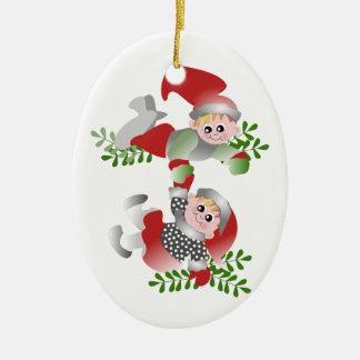 Christmas Fun Double-Sided Oval Ceramic Christmas Ornament