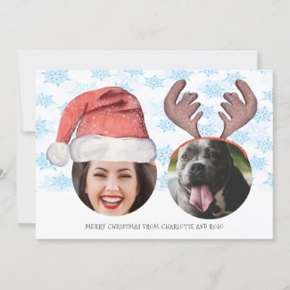 Christmas Fun Photo Santa Reindeer personalized Holiday Card
