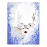 Christmas Fun with Rudolph Deer Blue Snowflakes Postcards