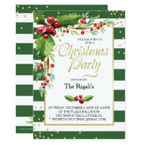 Christmas Function Invitation - Green Stripes
