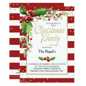 Christmas Themed Christmas Function Invitation - Red Stripes