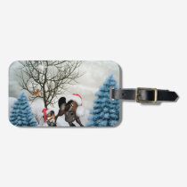 Christmas, funny bird and horse with chirstmas hat bag tag
