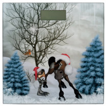 Christmas, funny bird and horse with chirstmas hat bathroom scale
