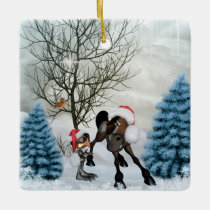 Christmas, funny bird and horse with chirstmas hat ceramic ornament