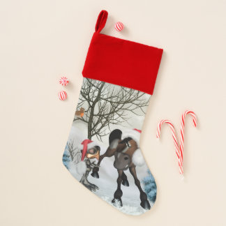 Christmas, funny bird and horse with chirstmas hat christmas stocking