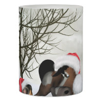 Christmas, funny bird and horse with chirstmas hat flameless candle