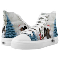 Christmas, funny bird and horse with chirstmas hat High-Top sneakers